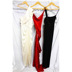 Lot [3] DRESSES:  [1] Tadashi Shoji ivory dress, size 4, [1] Yolanda Arce Red silk gown, size 4 and