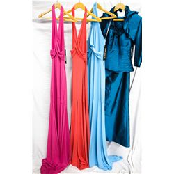 Lot [4] DRESSES:  [1] Yolanda Arce peach dress, size 4, [1] Yolanda Arce flush dress, size 4, [1] Yo