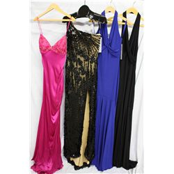 Lot [4] DRESSES:  [1] Yolanda Arce magenta dress, size 4, [1] One shoulder black/nude dress, size 4,