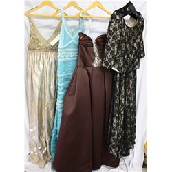 Lot [4] DRESSES:  [1] Reem Acra metallic dress, size 12, [1] Keva Hall turquoise dress, size 12, [1]