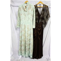Lot [2] DRESSES:  [1] Juan Carlos Pinera mint dress, size Large and [1] Yolanda Arce animal print an