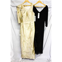 Lot [2] DRESSES:  [1] St. Thomas coffee halter gown, size 14 and [1] Black dress, size 14