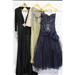 Description Change:Lot [3] DRESSES:  [1] St. Thomas black dress, size 10, [1] Ivonne de la