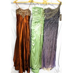 Lot [3] DRESSES:  [1] Cognac dress, size 6, [1] Stephen Yearick green dress, size 6 and [1] Purple b
