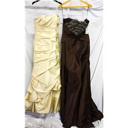 Lot [2] DRESSES:  [1] Faviana champagne dress, size 4 and [1] Juan Carlos Pinera brown dress, size M