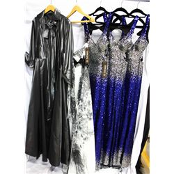 Lot [5] PEICES:  [1] Silver jacket, one size, [1] Black and white halter gown, size 4, [3] Faviana s