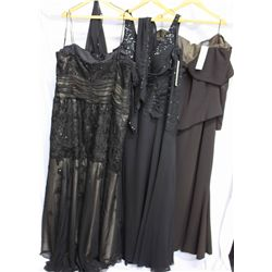 Lot [3] PEICES:  [1] St. Thomas bolero and lace gown, size 24, [1] Black beaded jacket, size 24 and
