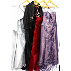 Lot [4] DRESSES:  [1] St. Thomas white dress, size 20, [1] Black dress, size 20, [1] Red dress, size