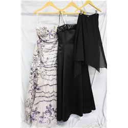 Lot [3] DRESSES:  [1] Purple dress, size 16, [1] Black gown with stones, size 16 and [1] Rose Taft b