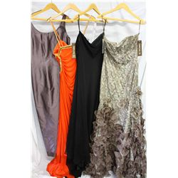 Lot [4] DRESSES: [1] Taupe one shoulder rhinestone dress, size 12, [1] Strapless chiffon ribbon dres