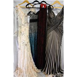 Lot [4] DRESSES: [1] Striped V Neck gown, size 8, [1] Faviana strapless bead brooch, size 8, [1] Pea