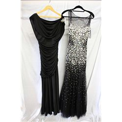 Lot [2] DRESSES: [1] Jovani black beaded gown, size 6, [1] Black Jovani cowl front and back jersey g