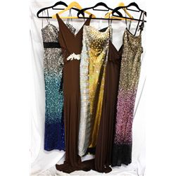 Lot [5] DRESSES: [1] Faviana one shoulder gown, size 4, [1] Halter long dress, size 4, [1] Strapless