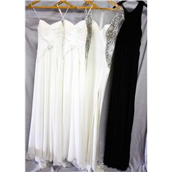Lot [4] DRESSES: [1] ABS black gown, size XS, [1] Ivory Jovani sequin low back gown, [1] Ivory doubl
