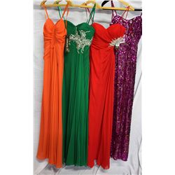 Lot [4] DRESSES: [1] Faviana strapless gown, size 0, [1] Red Faviana beaded side cutout gown, size 0