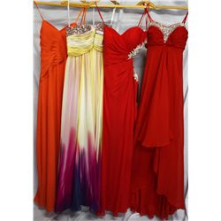 Lot [4] DRESSES: [1] Red Faviana beaded sweetheart gown, size 6, [1] Red Faviana beaded side cutout