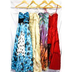 Lot [4] DRESSES: [1] Faviana Hi Lo beading neckline, size 6, [1] Faviana gown, size 6, [1] Spaghetti