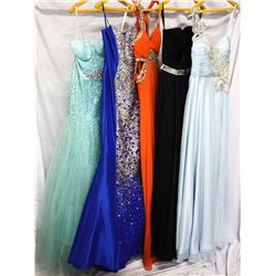 Lot [5] DRESSES: [1] One shoulder chiffon gown, size 6, [1] Jovani strapless twist and mirror waist,