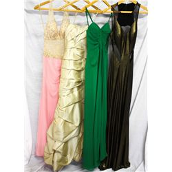Lot [4] DRESSES: [1] Gold Faviana foil jersey mesh dress, size 4, [1] Faviana green strapless chiffo