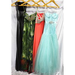 Lot [4] DRESSES: [1] Strapless gown full tull skirt, size 4, [1] Neckline beaded bust, size 4, [1] S
