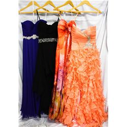 Lot [4] DRESSES: [1] Strapless ruffle gown, size 4, [1] Strapless print chiffon gown, size 4, [1] St