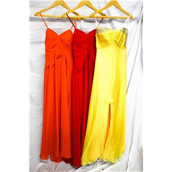 Lot [3] DRESSES: [1] Jovani yellow beaded gown, [1] Faviana red dress, size 4, [1] Favian mango stra