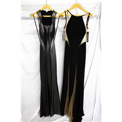 Lot [2] DRESSES: [1] Sheer detailed dress, size 2, [1] Silver foil jersey mesh dress, size 2