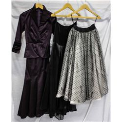 Lot [3] DRESSES: [1] Black and white tull, size S/M, [1] Carwash long skirt, size S, [1] Twist top s