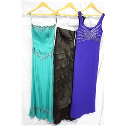 Lot [3] DRESSES: [1] Beaded bolero gown, size 6, [1] Chocolate satin tier gown, size 16, [1] Aqua sa
