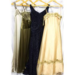 Lot [4] DRESSES: [1] Gown with train, size 8, [1] Navy leaf flocked gown, size 8, [1] Olive straples