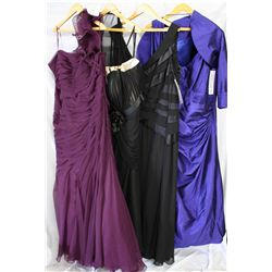 Lot [4] PIECES ASSORTED CLOTHING: [1] Straps/Taffeta Dress, size 22, [1] Knife pleat dress, size 22,