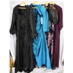 Lot [4] DRESSES: [1] Auburn bead dress, size 22, [1] Vintage lace with jacket, size 22, [1] Straps/T