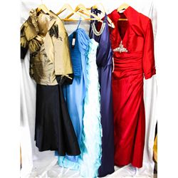 Lot [5] PIECES ASSORTED CLOTHING: [1] Wine bead details dress, size 16, [1] Navy jewel satin gown, s