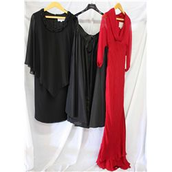 Lot [3] PIECES ASSORTED CLOTHING: [1] Long taffeta skirt, [1] Red siren gown, size 8, [1] St Thomas