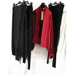 Lot [4] PIECES ASSORTED CLOTHING: [1] Black tull skirt over leggings, size 12, [1] Wine long sleeve