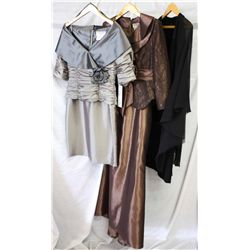 Lot [3] PIECES ASSORTED CLOTHING: [1] Black jewel banded chiffon dress, size 8, [1] 2 pcs skirt and