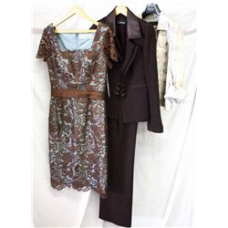 Lot [3] PIECES ASSORTED CLOTHING: [1] Animal sneak print cazadora jacket, size 8, [1] Wine colored w