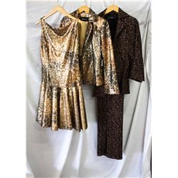 Lot [3] PIECES ASSORTED CLOTHING: [1] Missoni pants with slits, size 10, [1] Gold animal print jacke