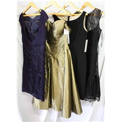 Lot [4] PIECES ASSORTED CLOTHING: [1] Flounce lace with bow dress, size 10, [1]  Black lace silk dre