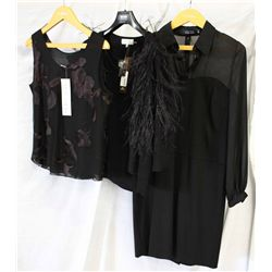Lot [3] PIECES ASSORTED CLOTHING: [1] Sheer sleeve corset, size 10, [1]  Black wool camisole/cardiga