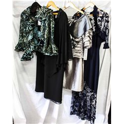 Lot [4] PIECES ASSORTED CLOTHING: [1] St. Thomas dress, Size L,  [1] Silver off shoulder with rose,