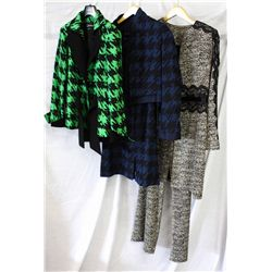 Lot [3] PIECES ASSORTED CLOTHING: [1] Missoni Jacket, Size 12, [1] Royal blue hounds tooth jacket, s