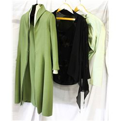 Lot [3] PIECES ASSORTED CLOTHING: [1] Tadashi collection top, size 14, [1] Chiffon skirt jacket, Siz