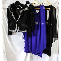 Lot [4] PIECES ASSORTED CLOTHING: [1] Jewel banded chiffon dress, size 18, [1] Daymor Couture Dress,