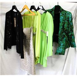 Lot [5] PIECES ASSORTED CLOTHING: [1] Green tie front jacket, Size 2, [1] Lime jersey long sleeve, s
