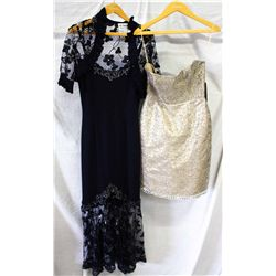 Lot [2] DRESSES: [1] Strapless sequin dress, size S, [1] Navy halter gown, size S