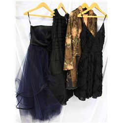 Lot [4] PIECES ASSORTED CLOTHING: [1] Black ribbon dress, size 6, [1] Orange flow jacket, size 6, [1