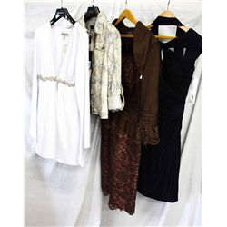Lot [4] PIECES ASSORTED CLOTHING: [1] Navy mesh dress ,size 6, [1] Lace dress, size 6, [1] sneak pri
