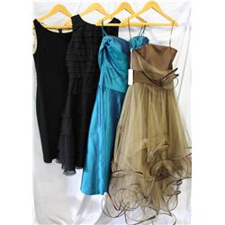 Lot [4] PIECES ASSORTED CLOTHING: [1] Strapless ruffles over satin silk, size 6, [1] Off shoulder dr