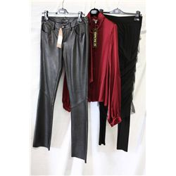 Lot [3] PIECES ASSORTED CLOTHING: [1] Skirt over leggings, size 8, [1] Long sleeve tie neck blouse,